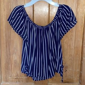 Navy stripped off the shoulder top